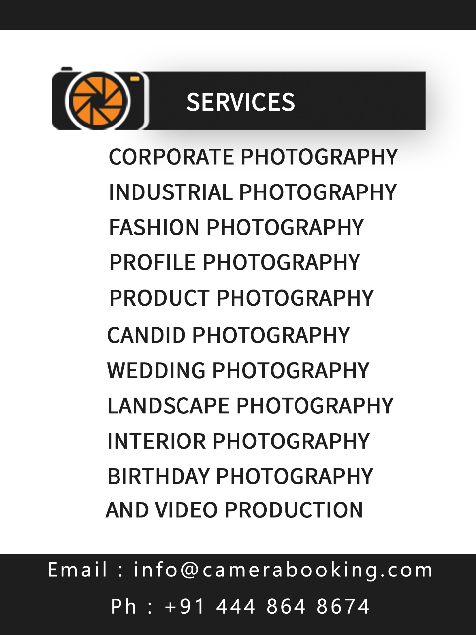 Camerabooking - demo - buzztm - We are provided best photography services for corporate, industrial, product, interior, fashion, wedding, birthday, events, portrait, family, outdoor, candid and video shooting.